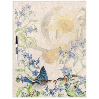 Bluebird Birds Narcissus Flowers Dry Erase Board
