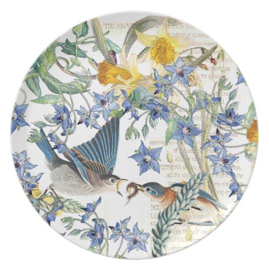 Bluebird Birds Narcissus Wildflower Flowers Plate