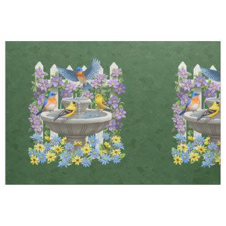 Bluebird Goldfinch Birdbath Green Pillow Size