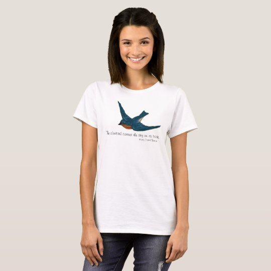 Bluebird in Flight with quote by Thoreau T-Shirt