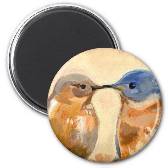 Bluebird Kiss 6 Cm Round Magnet