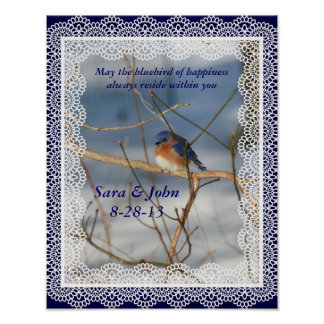 Bluebird Of Happiness Nature Wedding Poster