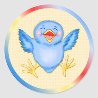 Bluebird of Happiness Round Sticker