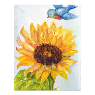Bluebird of Happiness with Sunflower 21.5 Cm X 28 Cm Flyer
