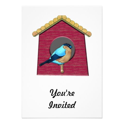 Bluebird on Barn Red House Personalized Invite