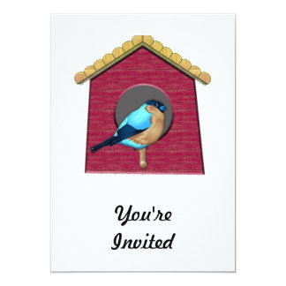 Bluebird on Barn Red House 5x7 Paper Invitation Card