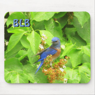 Bluebird on Lilac Hedge your Initials Mouse Mat