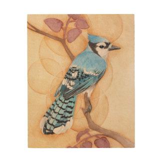 Bluebird on Wood Wood Print