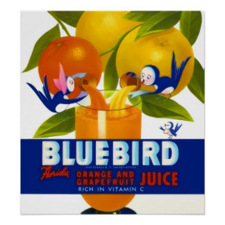 Bluebird Orange Juice Vintage Poster