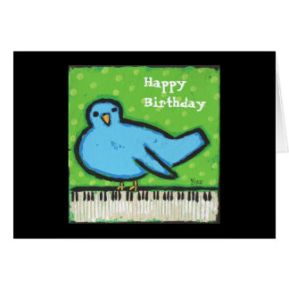 Bluebird/piano birthday card