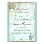 Bluebird & Pink Roses Engagement Announcement 14 Cm X 19 Cm Invitation Card
