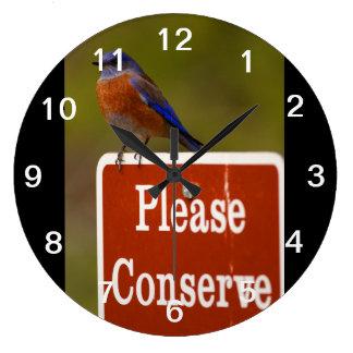 Bluebird Please Conserve Wall Clock