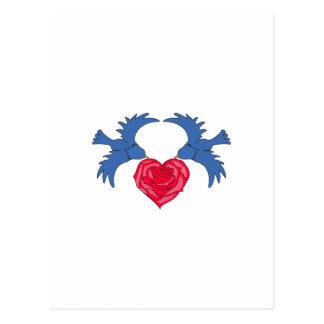 BLUEBIRD ROSE HEART POSTCARD