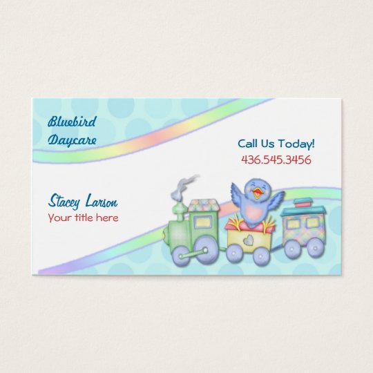 Bluebird Train for Daycare or Babysitter Business Card