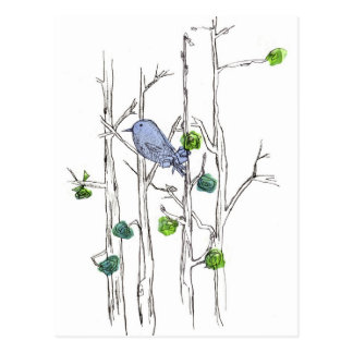 Bluebird Trees Pen and Ink Drawing Nature Art Post Card