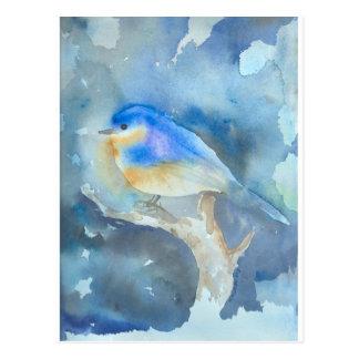 Bluebird Watercolor Art Postcard
