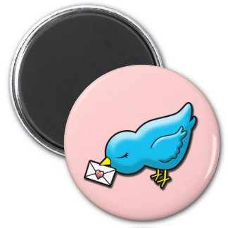 Bluebird with love letter 6 cm round magnet