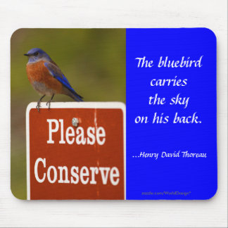 Bluebird with Thoreau Quote Mouse Mats