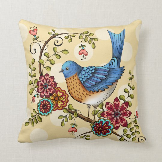 Bluebird with Yellow Polka Dots- Throw Pillow