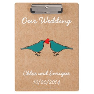 Bluebirds and Love Heart Wedding Clipboard