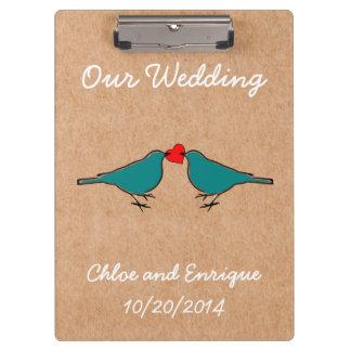 Bluebirds and Love Heart Wedding Clipboard