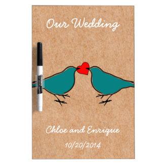 Bluebirds and Love Heart Wedding Dry Erase Board