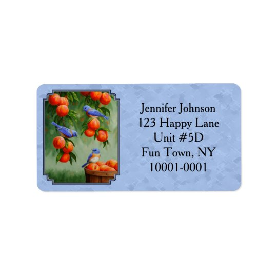 Bluebirds and Peaches Blue Address Label
