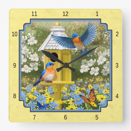 Bluebirds and Round Birdhouse Yellow Square Wall Clock