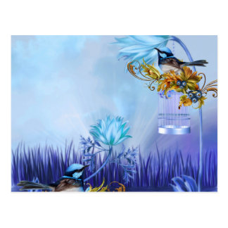 Bluebirds Blue Pond Birds Postcard