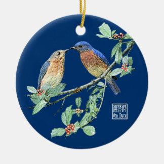 Bluebirds holy-blue bg christmas ornament