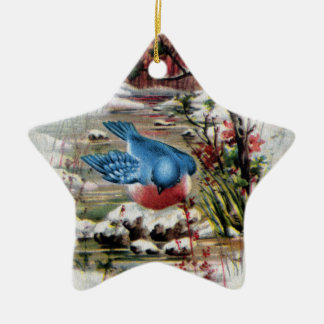 Bluebirds in Winter Vintage Christmas Christmas Ornament