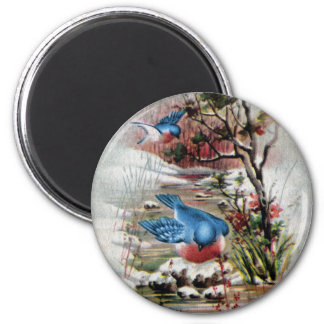 Bluebirds in Winter Vintage Christmas Magnet