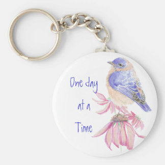 Bluebirds, Motivational, One day at a Time Quote Basic Round Button Key Ring