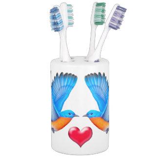 Bluebirds of Happiness Toothbrush Holder Set