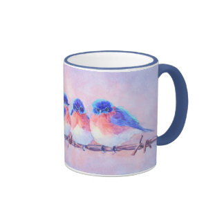 BLUEBIRDS on a WIRE by SHARON SHARPE Ringer Mug