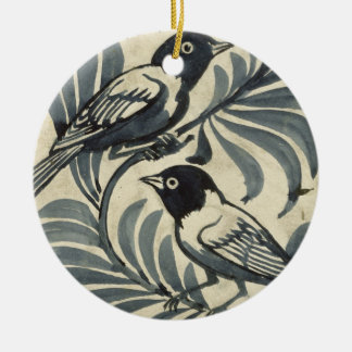 Bluebirds (w/c on paper) christmas ornament
