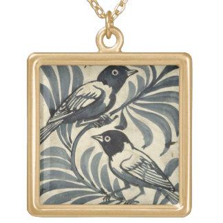 Bluebirds (w/c on paper) square pendant necklace