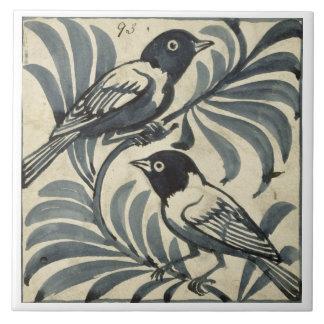 Bluebirds w c on paper tile