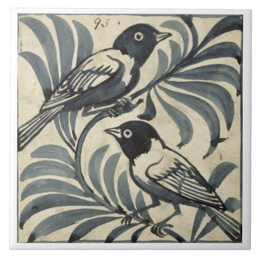 Bluebirds (w/c on paper) tile
