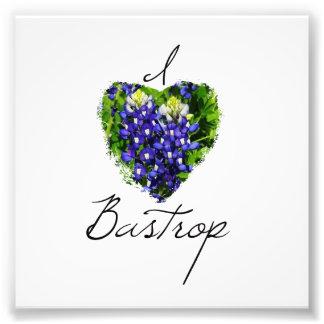 """Bluebonnet """"I Heart Bastrop' Square Print Photograph"""