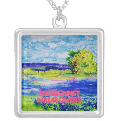 bluebonnet wildflowers art necklaces
