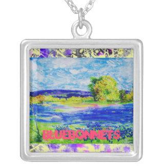 bluebonnet wildflowers drip art pendant