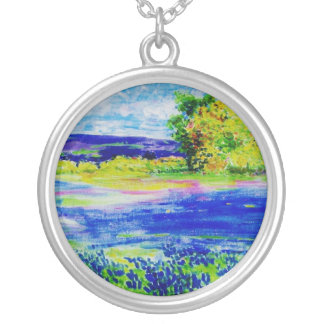 bluebonnet wildflowers round pendant necklace