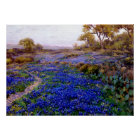Bluebonnets at Twilight, North of San Antonio Poster