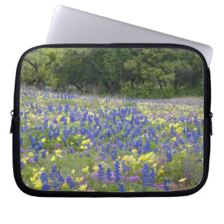Bluebonnets, primrose, and phlox laptop sleeve