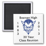 BlueDevil, Bremen High 30 Year Class Reunion Square Magnet