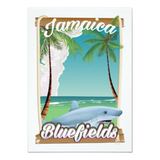 Bluefields, Jamaica beach vacation poster. Card