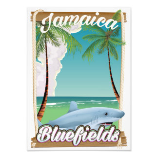 Bluefields, Jamaica beach vacation poster. Photographic Print