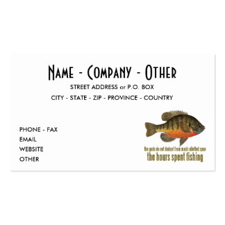 Bluegill, Bream Fishing Pack Of Standard Business Cards