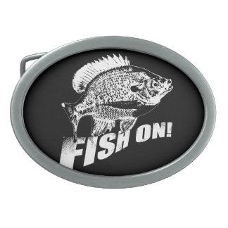 Bluegill fish on. black oval belt buckles
